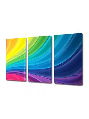 Set Tablouri Multicanvas 3 Piese Abstract Decorativ Spectru luminos