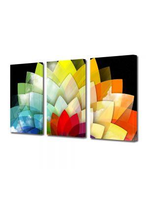Set Tablouri Multicanvas 3 Piese Abstract Decorativ Floare stilizata