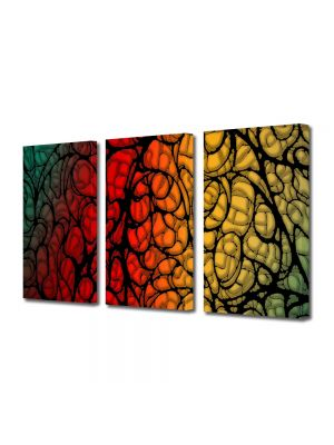 Set Tablouri Multicanvas 3 Piese Abstract Decorativ Natura