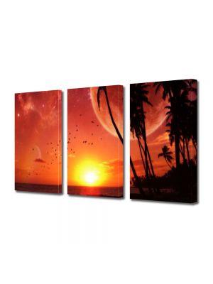 Set Tablouri Multicanvas 3 Piese Abstract Decorativ Apus pe plaja