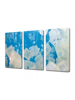 Set Tablouri Multicanvas 3 Piese Abstract Decorativ Cuburi de gheata