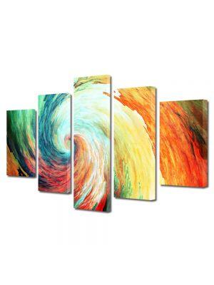 Set Tablouri Multicanvas 5 Piese Abstract Decorativ Spirala
