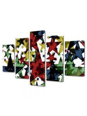 Set Tablouri Multicanvas 5 Piese Abstract Decorativ Stele