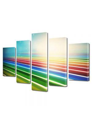 Set Tablouri Multicanvas 5 Piese Abstract Decorativ Dungile curcubeului