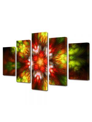 Set Tablouri Multicanvas 5 Piese Abstract Decorativ Forme de lumina