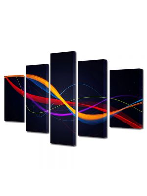 Set Tablouri Multicanvas 5 Piese Abstract Decorativ Spirala ADN