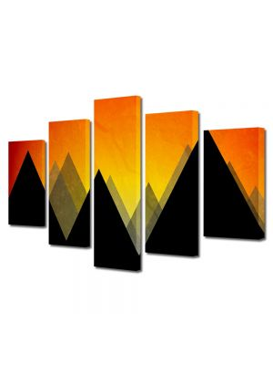 Set Tablouri Multicanvas 5 Piese Abstract Decorativ Munti