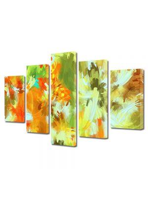 Set Tablouri Multicanvas 5 Piese Abstract Decorativ Camuflaj deschis