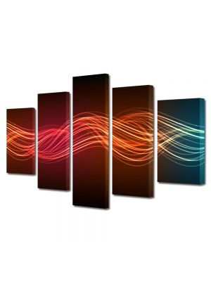 Set Tablouri Multicanvas 5 Piese Abstract Decorativ Unde luminoase
