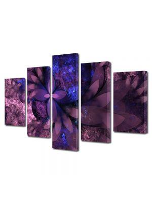 Set Tablouri Multicanvas 5 Piese Abstract Decorativ Flori violet