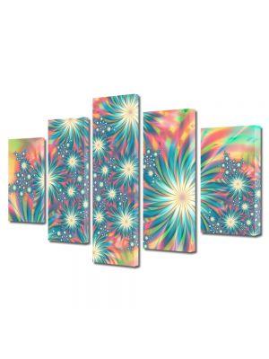 Set Tablouri Multicanvas 5 Piese Abstract Decorativ Exotic