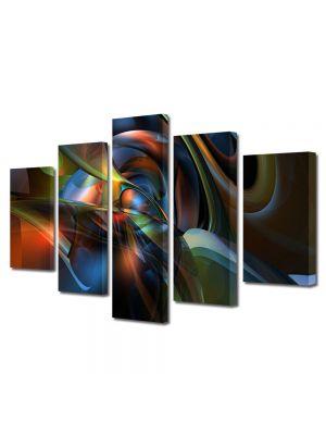 Set Tablouri Multicanvas 5 Piese Abstract Decorativ Mase plastice