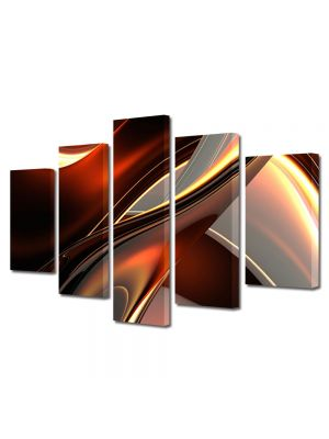 Set Tablouri Multicanvas 5 Piese Abstract Decorativ Inele de plastic