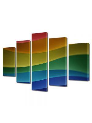 Set Tablouri Multicanvas 5 Piese Abstract Decorativ Dealuri multicolore