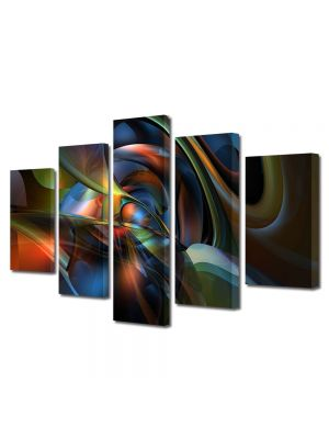 Set Tablouri Multicanvas 5 Piese Abstract Decorativ Sinusoidale