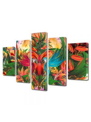 Set Tablouri Multicanvas 5 Piese Abstract Decorativ Gradina abstracta