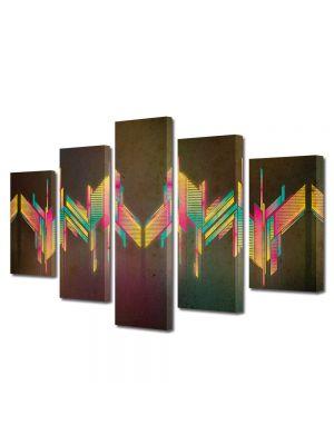 Set Tablouri Multicanvas 5 Piese Abstract Decorativ Unde colorate