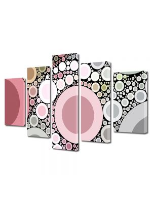 Set Tablouri Multicanvas 5 Piese Abstract Decorativ Margele