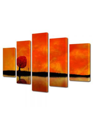 Set Tablouri Multicanvas 5 Piese Abstract Decorativ Amurg