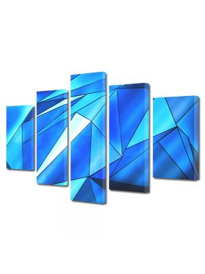Set Tablouri Multicanvas 5 Piese Abstract Decorativ Triunghiuri albastre