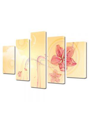 Set Tablouri Multicanvas 5 Piese Abstract Decorativ Floare