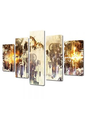 Set Tablouri Multicanvas 5 Piese Abstract Decorativ Mecanic