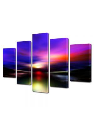 Set Tablouri Multicanvas 5 Piese Abstract Decorativ Aurora Boreala