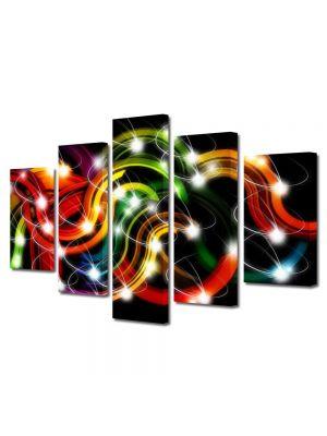 Set Tablouri Multicanvas 5 Piese Abstract Decorativ Sirag de lumini