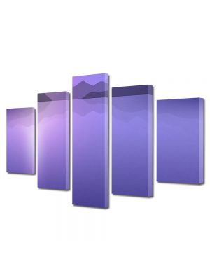Set Tablouri Multicanvas 5 Piese Abstract Decorativ Peisaj Violet