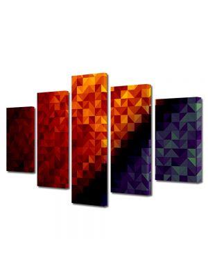 Set Tablouri Multicanvas 5 Piese Abstract Decorativ Patratele