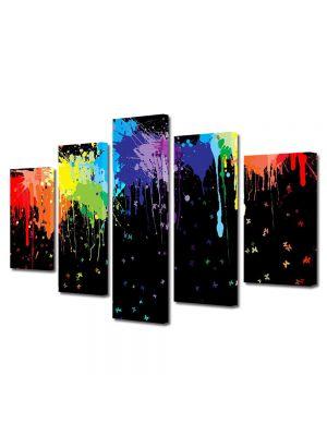 Set Tablouri Multicanvas 5 Piese Abstract Decorativ Pete colorate