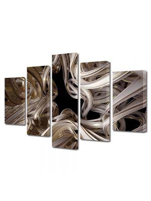 Set Tablouri Multicanvas 5 Piese Abstract Decorativ Curbe