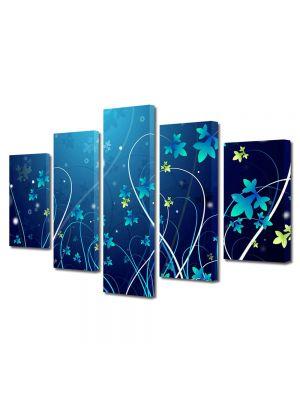 Set Tablouri Multicanvas 5 Piese Abstract Decorativ Plante abstracte