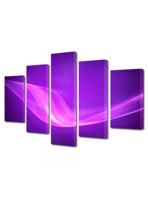 Set Tablouri Multicanvas 5 Piese Abstract Decorativ Raze violet