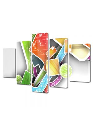 Set Tablouri Multicanvas 5 Piese Abstract Decorativ Asezare artistica