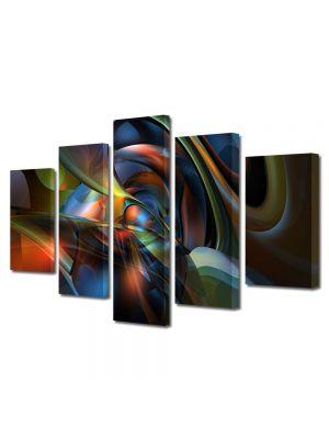 Set Tablouri Multicanvas 5 Piese Abstract Decorativ Nuante
