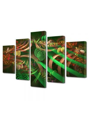 Set Tablouri Multicanvas 5 Piese Abstract Decorativ Colaj