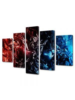 Set Tablouri Multicanvas 5 Piese Abstract Decorativ Foc si gheata