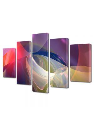 Set Tablouri Multicanvas 5 Piese Abstract Decorativ Lumini blande