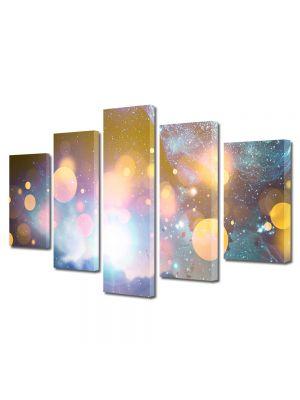 Set Tablouri Multicanvas 5 Piese Abstract Decorativ Energii portocalii