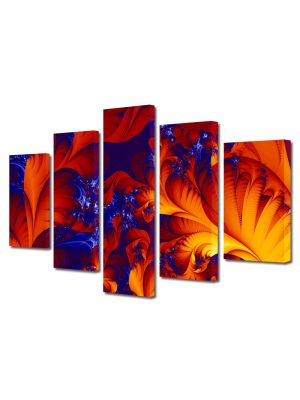 Set Tablouri Multicanvas 5 Piese Abstract Decorativ Frunze exotice