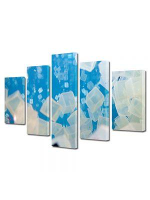 Set Tablouri Multicanvas 5 Piese Abstract Decorativ Cuburi de gheata