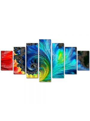Set Tablouri Multicanvas 7 Piese Abstract Decorativ Pana colorata