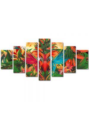 Set Tablouri Multicanvas 7 Piese Abstract Decorativ Gradina abstracta