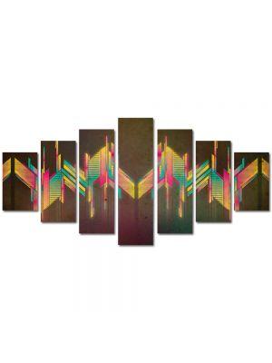 Set Tablouri Multicanvas 7 Piese Abstract Decorativ Unde colorate