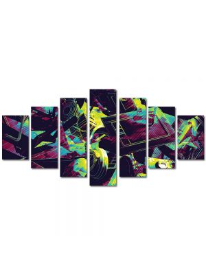 Set Tablouri Multicanvas 7 Piese Abstract Decorativ Culori vintage