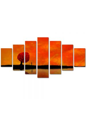 Set Tablouri Multicanvas 7 Piese Abstract Decorativ Amurg