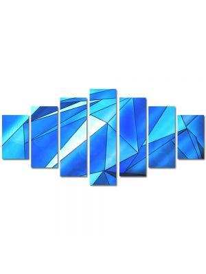 Set Tablouri Multicanvas 7 Piese Abstract Decorativ Triunghiuri albastre