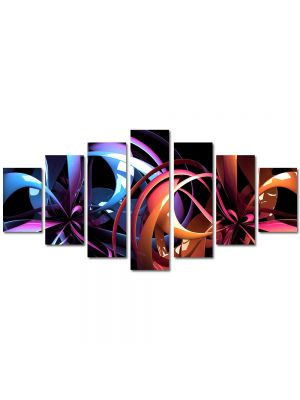 Set Tablouri Multicanvas 7 Piese Abstract Decorativ Carusel de culori
