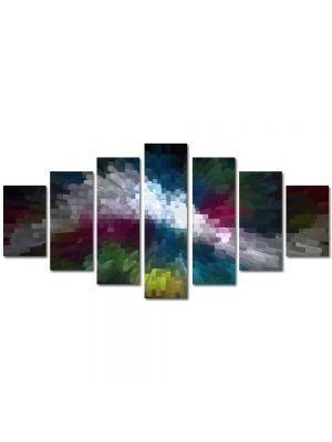 Set Tablouri Multicanvas 7 Piese Abstract Decorativ Distorsionat